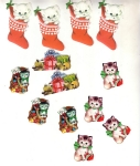 Vintage Christmas Seals Group Kitties