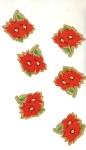 Vintage Christmas Seals Small Poinsettias