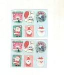Vintage Christmas Seals Santa's And Puppy