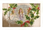 Vintage Christmas Greeting Postcard Angels And Holly