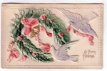 Vintage Postcard Christmas Doves And Christmas Wreath