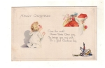 Vintage Postcard Merry Christmas Santa Little Child