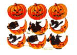 Vintage Holloween Die-cut Scrap Sheet Pumpkins,cats,owls, Witches Germany