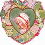 Vintage Valentine Little Girl In Bonnet 1930's