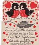 Two Little Birds Vintage Valentine From The 1930's Lollypop Holder