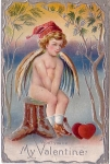 Vintage Valentine Cupid Won't You Be My Valentine Postcard