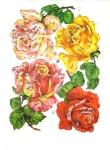 Vintage Die-cut Eas Sheet Big Roses's Glitter Scrap