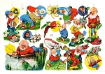 Vintage Die-cut Scrap Gnomes Eas #3057 Germany