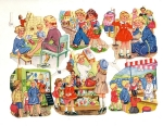 Vintage Die-cut Eas Children Shopping Germany