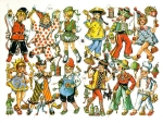 Vintage Die-cut Children In Costume With Toys Eas Germany 3175