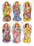 Vintage Die-cut Angels With Flowers Eas Germany