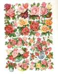 Vintage Die-cut Roses Sheet By Eas Germany