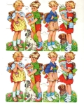 Vintage Die-cut Children With Cones And Dogs German