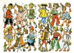 Vintage Die-cut Children In Costumes Eas Germany