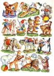 Vintage Die-cut Scrap Baby Animals With Toys Germany