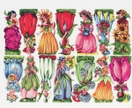 Vintage Die-cut Scrap Flower Faires Full Sheet Eas