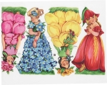 Vintage German Die-cut Scrap Large Flower Fairy Children