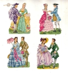 Vintage Set Of Four Colonial Dancers Made In Germany