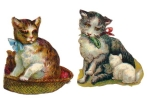Two Vintage Die-cut Cats And Kittens