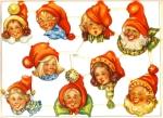 Die-cut Scrap By Wallen Adorable Gnomes 1940s Sweden