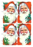 Four Large Vintage Die-cut Scrap Santa Heads With Holly