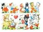 Die-cut Scrap Playing Kittens W. Germany