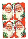 Four Large Vintage Santa Heads With Holly