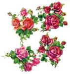 Vintage Die-cut Pink And Red Roses Group