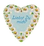 Vintage Die-cut Scrap Heart In German Do You Love Me?