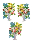 Vintage Die-cut Flower Pots Assorted Mixed Flowers