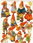 Vintage Sheet Of Die-cut Scrap Santas Sweden Made