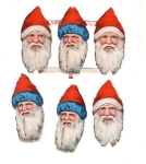 Vintage Die-cut German Santa Heads