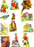 Vintage Group Of Die Cut Scrap Chidren And Animals