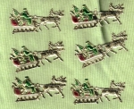 Vintage Embossed Dresden Santa With Sleigh And Reindeer