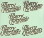 Vintage Dresden Merry Christmas Die-cut Scraps Embossed Gold