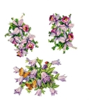 Vintage Die-cut Purple Orchid And Purple Flower With Butterflys
