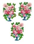 Vintage Die-cut Scrap Flower Pots With Roses