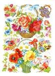 Vintage Die Cut Scrap Large And Small Flower Baskets Germany