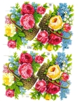 Vintage Die-cut Scrap Flower Baskets/ Pzb/germany/sheet