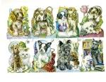 Vintage Die-cut Scrap Puppies Playing Germany Pzb Sheet