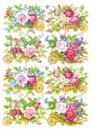 Vintage Die-cut Scrap Flower Carts With Roses German Pzb