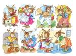 Vintage Die-cut Scrap Sheet Bunnies Playing German