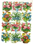 Vintage Die-cut Mixed Flowers In Vases Pbz Germany
