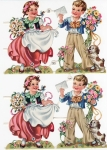 Vintage Pzb German Die-cut Scrap Embossed Boy And Girl With Flower And Dog
