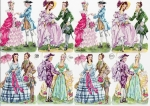 Vintage Pzb German Die-cut Scrap Colonial Women In Pretty Dresses