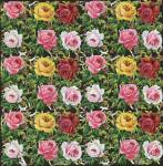 Vintage Large Die-cut Scrap Pink And Red And Yellow Roses Medium Size
