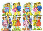 Vintage Die Cut Large Sheet Children Playing