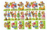 Vintage Die Cut Scrap Playing Children Pzb Germany