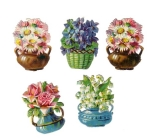 Five Victorian Die-cut Flower Pots