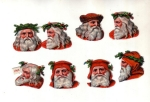 Beautiful Group Of Victorian Die-cut Santa Heads With Holly 8
